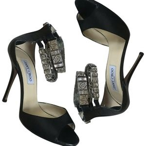 $1,200 JIMMY CHOO Triple Jewel Strap High Heels